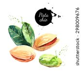 hand drawn watercolor painting... | Shutterstock .eps vector #298009676