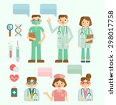 doctor and nurse dialog | Shutterstock .eps vector #298017758