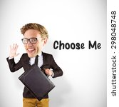 nerd smiling and waving against ... | Shutterstock . vector #298048748