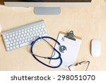 medicine doctor's working table ... | Shutterstock . vector #298051070