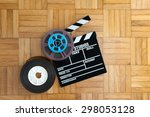 movie clapper board with super... | Shutterstock . vector #298053128