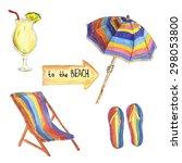 watercolor summer beach set... | Shutterstock .eps vector #298053800