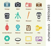 camera elements, vector infographic icons