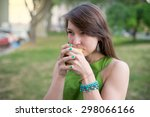 woman drinking hot coffee on... | Shutterstock . vector #298066166