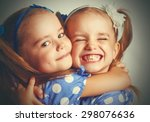 happy funny girl twins sisters...   Shutterstock . vector #298076636