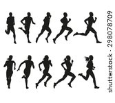 set of silhouettes of running... | Shutterstock .eps vector #298078709