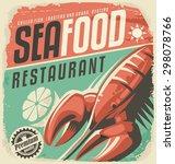 retro seafood restaurant poster ...   Shutterstock .eps vector #298078766