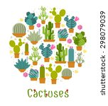 cactus label. spiny and barb ... | Shutterstock .eps vector #298079039