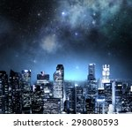 city skyline at night under a... | Shutterstock . vector #298080593