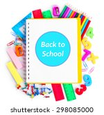 school supplies isolated on... | Shutterstock . vector #298085000