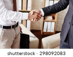 businessmen handshaking after... | Shutterstock . vector #298092083