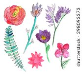 hand painted watercolor flowers.... | Shutterstock .eps vector #298093373