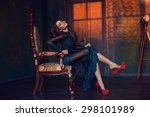 Stock photo art fine photo of young elegant beautiful lady wearing long green evening dress with lace and 298101989