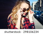 portrait of a girl close up of... | Shutterstock . vector #298106234