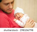 father and newborn baby. the... | Shutterstock . vector #298106798