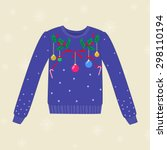 christmas hand drawn sweater... | Shutterstock .eps vector #298110194