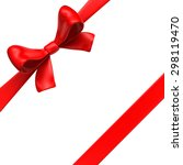 red bow with ribbons on white... | Shutterstock . vector #298119470