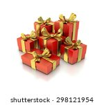 red gift box with gold bow and... | Shutterstock . vector #298121954