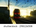 locomotive in the rays of the... | Shutterstock . vector #298126508
