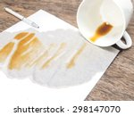 coffee spilled out from white... | Shutterstock . vector #298147070