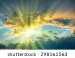 beautiful blue sky with sun... | Shutterstock . vector #298161563