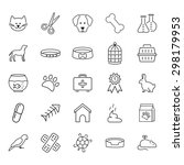 pets related icon set in thin... | Shutterstock . vector #298179953