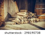 pile of woods in fiont of the... | Shutterstock . vector #298190738