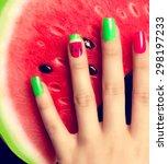 nail art manicure. watermelon... | Shutterstock . vector #298197233