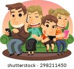 family using smart phones... | Shutterstock .eps vector #298211450
