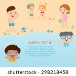 kids on the beach   kids... | Shutterstock .eps vector #298218458