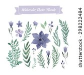set of handpainted watercolor... | Shutterstock .eps vector #298222484