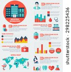 medical flat infographic... | Shutterstock .eps vector #298225436
