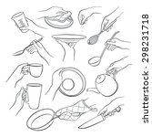 cooking hands outlines isolated ... | Shutterstock .eps vector #298231718