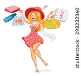 happy girl with shopping bags... | Shutterstock .eps vector #298232360
