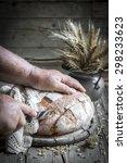 white round homemade bread on... | Shutterstock . vector #298233623