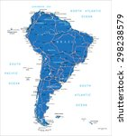 south america road map | Shutterstock .eps vector #298238579