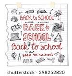 back to school supplies.doodles ... | Shutterstock .eps vector #298252820