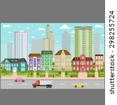 city buildings background image ... | Shutterstock .eps vector #298255724