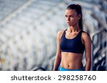 fitness woman on stadium... | Shutterstock . vector #298258760