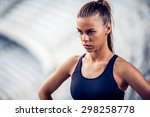 fitness woman on stadium... | Shutterstock . vector #298258778