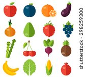 fresh fruits and vegetables... | Shutterstock .eps vector #298259300