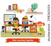 kids research base concept.... | Shutterstock .eps vector #298262414