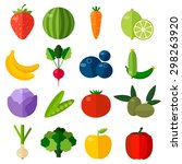 colorful flat fruits and... | Shutterstock .eps vector #298263920