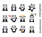 set of cute funny cartoon pandas | Shutterstock .eps vector #298268300
