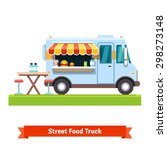 opened street food truck with... | Shutterstock .eps vector #298273148