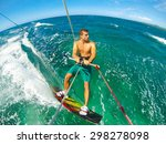kite boarding. fun in the ocean ... | Shutterstock . vector #298278098