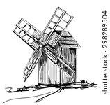 mill. windmill. hand drawn... | Shutterstock .eps vector #298289504
