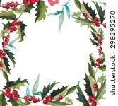 merry christmas mistletoe with... | Shutterstock .eps vector #298295270
