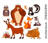 Set Of Cartoon Forest Animals...