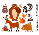 Set Of Cartoon Forest Animals...